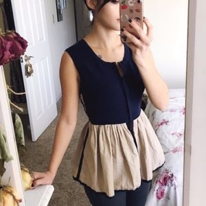 Anthropologie Moth size L Pleated Darcy Top Blouse